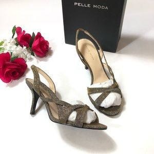 "Pelle Moda "" Gretel"" Women Open Toe Canvas Bronze"